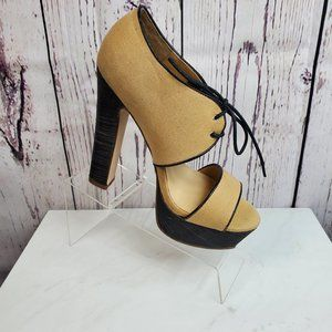 Leila Stone Platform Open Toe Heels Sz 8.5M Beige
